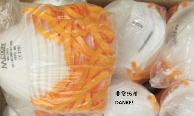Uniklinik Düsseldorf freut sich über 1000 FFP2-Masken